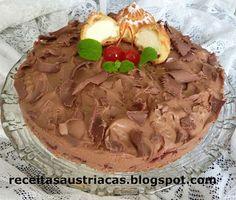 RECEITAS AUSTRÍACAS E ALEMÃS - DOCES: TORTA DE CHOCOLATE COM CAROLINAS - Windbeutel-tort...