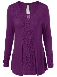 Long Sleeve Cut Out Lace Trim T-Shirt - PURPLE 2XL