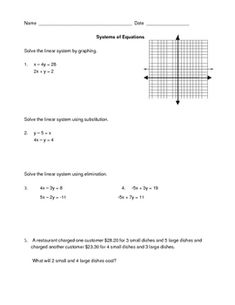 Here is a one page, 5 problem worksheet/quiz to give students to check their understanding of solving systems of equations using graphing, substitu...