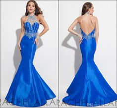 Luxury Mermaid Prom Dresses 2016 New Arrival Rachel Allan Evening Gowns Satin High Neck Rhinestone Beading See Though Neck Backless Gowns Cheep Prom Dresses Design Prom Dress From Molly_bridal, $104.82| Dhgate.Com