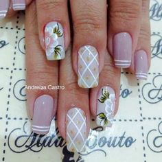 French Manicure Nail Designs, Flower Nail Designs, Toe Nail Designs, Acrylic Nail Tips, Cute Acrylic Nails, Great Nails, Fun Nails, Summer Toe Nails, Kawaii Nails