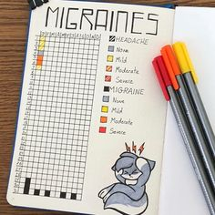 Bullet Journal Migraine Tracker {Severity, Symptoms and Triggers} A Year in Pixels Migraine Tracker Bullet Journal Health, Bullet Journal Tracker, Bullet Journal Aesthetic, Bullet Journal Notebook, Bullet Journal Ideas Pages, Bullet Journal Inspo, Bullet Journal Layout, My Journal, Journal Prompts