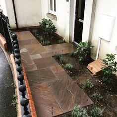 Front garden remodel with sandstone paving & planting Sandstone Paving, Bespoke Design, Art Club, Fashion Week, Living Room Decor, Garden Design, Sidewalk, Logo Design, Landscape