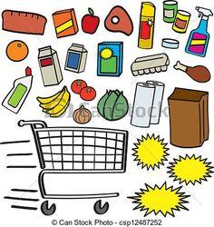 Vector - supermercado, artículos - stock de ilustracion, ilustracion libre de, stock de iconos de clip art, logo, arte lineal, retrato de EPS, Retratos, gráficos, dibujos gráficos, dibujos, imágenes vectoriales, trabajo artístico, Arte Vectorial en EPS