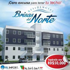 """El apartamento de tu sueño está en """"Residencial Brisas del Norte"""" único y exclusivo para ti en Santiago de los Caballeros. Ven y separa el tuyo !! Comunícate con nosotros al 809-583-3915,también nos puede escribir un mensaje privado y con gusto le llamaremos"""