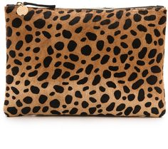 Clare V. Leopard Flat Haircalf Clutch - $245.00