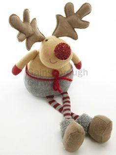 Sitting Sparkly Red Nosed Moose