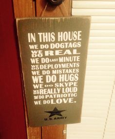 In this house army sign. Wood sign. Military by SandJBargainVault