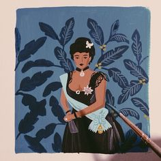 painting Lili'uokalani (the last queen of Hawaii) for our 2015 monarch calendar
