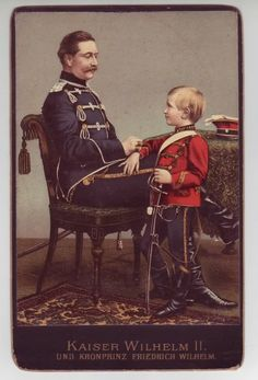 Wilhelm II with his eldest son, Crown Prince Friedrich Wilhelm, the first of six boys.
