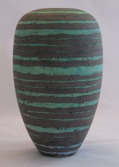 Peter Beard Vase decorated with concentric circles in a wax resist Manganese glaze  Dated: 2013  £320
