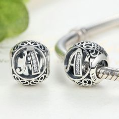 Alphabet Beads - A to T - Vintage Sterling Silver 925