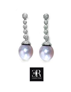 Fancy diamond and pearl drop earrings. Featuring Australian South Sea pearls, with floating diamond pave set bobble drops. In 18 carat white gold. Exclusive to Charles Rose. Wedding Engagement, Wedding Rings, South Sea Pearls, Pearl Drop Earrings, Diamonds, White Gold, Fancy, Jewellery, Rose