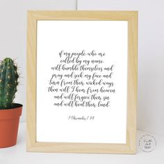 If my people, who are called by my name, will humble... 2 Chronicles 7:14 NIV, Bible Verse, Wall Art Decor, Digital Print by FaithArtShoppe Wall Art Decor, Wall Art Prints, Bible Verses, Niv Bible, Wicked Ways, Mug Printing, My Name Is, Printed Materials, My People