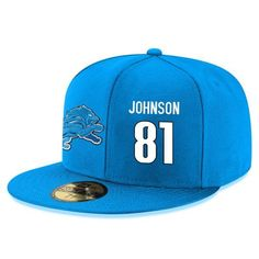 8cf5ed792b5 Detroit Lions Calvin Johnson Snapback Cap NFL Player Light Blue with White  Number Hat