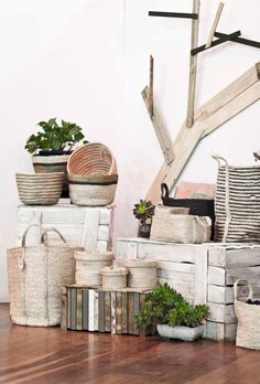 the dharma door sustainable exhibition display by the sustainable stylist Interior Blogs, Exhibition Display, Planter Pots, Shelves, Doors, Home Decor, Shelving, Homemade Home Decor, Shelf