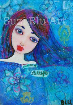 Original mixed media painting by artist Suzi Blu.