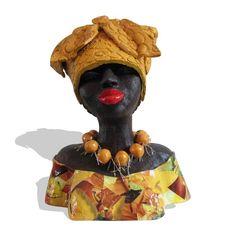 Keramiek beeld 'Elegante Afrikaanse vrouw' keramische sculptuur