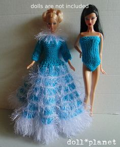 Beautiful handmade crochet knit turquoise GOWN and BODY SUIT for Barbie No Doll