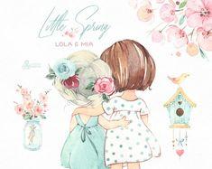 Little spring lola mia watercolor clipart girls bestie bird house kids flowers pink delicat Clipart Chica, Bird Illustration, Watercolor Illustration, Floral Watercolor, Kids Watercolor, Watercolor Paintings, House Paint Design, Paint Designs