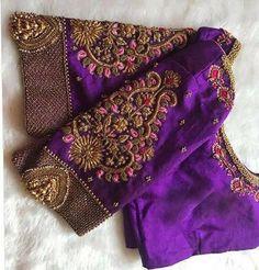 Pattu Saree Blouse Designs, Blouse Designs Silk, Designer Blouse Patterns, Bridal Blouse Designs, Zardosi Work Blouse, Lehenga Blouse, Hand Work Blouse Design, Simple Blouse Designs, Stylish Blouse Design