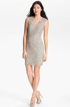 Adrianna Papell V-Neck Lace Dress available at Nordstrom