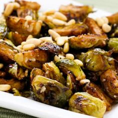 Roasted Brussels Sprouts Recipe with Balsamic, Parmesan, and Pine Nuts from Kalyn's Kitchen  #LowGlycemicRecipes  #SouthBeachDietRecipes