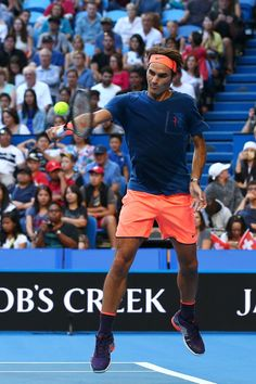 """rfederer2: """" Roger Federer during his first practice session at the Perth Arena on December 29, 2016 in Perth, Australia. """""""