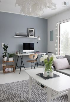 Grey Blue Wall Paint- like the paint and the rug... not too impressed with the rest