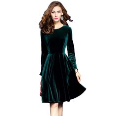 f9a676c4ff9 ... velvet dress directly from China dress winter Suppliers  2017 Plus Size  Womens Velvet Dresses Winter Dark Green Women Evening Party Dress Elegant A-Line  ...