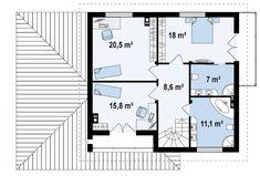 Второй этаж 80,9м² дома Zx12 House Outside Design, House Plans, Floor Plans, How To Plan, Home Decor, Houses, Check, Home Plans, House Construction Plan