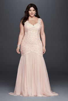 Plus Size Long Trumpt Tulle and Lace Wedding Gown Style 9SWG723