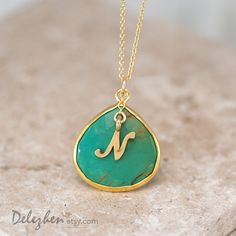 Personalized Necklace Green Turquoise Necklace by delezhen