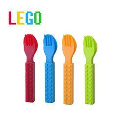 Talher infantil formato de Lego (garfo e colher)