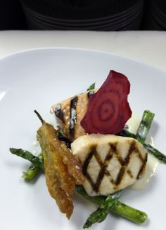 Duo of Grilled Scottish Salmon & Escolar, Tempura Squash Blossom, Forbidden Black Rice, Lemongrass Beurre Blanc. www.restaurantmichael.com #foodie #restaurant #chicago #northshore #french