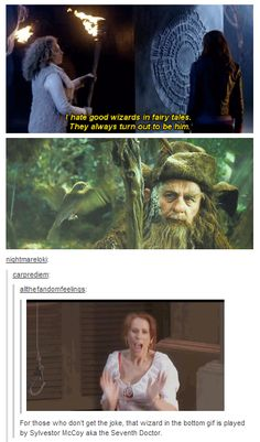 """I hate good wizards in fairy tales, they always turn out to be him."" Oh my gosh!!!"
