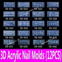 12 pcs acrílico 3d Mold Nail Art ferramentas de modelo 139 pré   corte para enchimento com acrílico líquido pó e acrílico em Provas para arte de unha de Beleza & Saúde no AliExpress.com | Alibaba Group