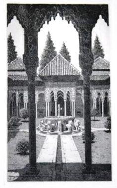 Grabado del patio de los leones de la Alhambra del pintor de Granada Juan Luís Lirio. Medidas: 30cm x 40cm Plancha: 14cm x 24cm Al súper alfa