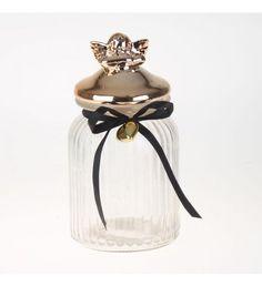 GLASS JAR WITH GOLD ANGEL 10X22