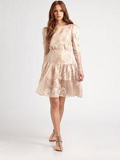 Valentino Silk Painted Poppy Dress