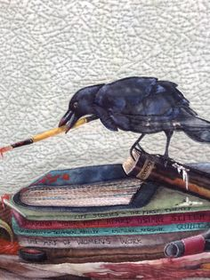 Outstanding quilt by Linda Kemshall - its an art form :) . Fabric Birds, Fabric Art, Raven Art, Bird Quilt, Creative Textiles, Animal Quilts, Landscape Quilts, Contemporary Quilts, Mini Quilts