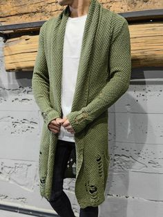 2&Y Men Stylish Long HMLS Knitted Ripped Sweater Blouse - Green