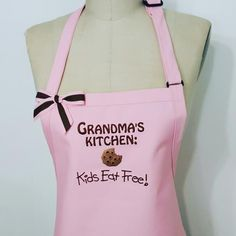 Grandma's Kitchen Apron -Personalized Apron/ Pink Apron with brown embroidery thread / Gourmet Apron / Quality Apron / Hostess gift idea . by SouthernA on Etsy