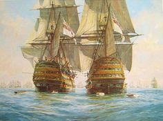 """""Victory"" races ""Temeraire"" for the enemy line, Trafalgar, 21st October 1805"" - Geoff Hunt"