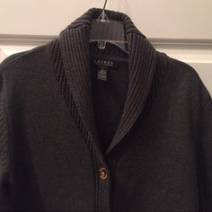 Gray Ralph Lauren Cardigan Sweater Really cute Gray sweater with Gold buttons. Gently worn. Ralph Lauren Sweaters Cardigans