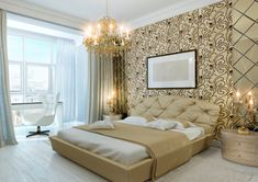Luxurious condo master bedroom with gold wall design, chandelier and large window