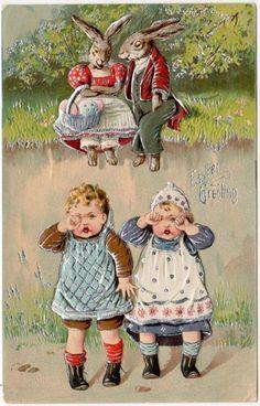 .vintage PAASKAART, de paashaas is boos ze zijn te ondeugend geweest denk ik zo,...............lb