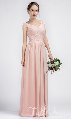 Long V-neck Chiffon Pink Bridesmaid Dresses with Lace Cap Sleeves TBQP330 click for 40+ colors
