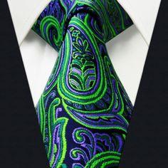 Paisley Green Purple Black Mens Necktie Ties 100% Silk Jacquard Woven Brand New