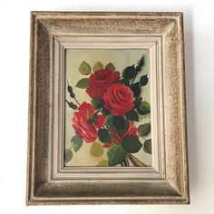 French Mid Century oil painting of vibrant & beautiful red roses. Oil on masonite board, in its original & typically French, wooden frame. Beautiful Red Roses, Wooden Frames, Candlesticks, French Antiques, Vintage Art, Still Life, Vibrant, Floral Paintings, Handmade